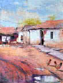 Amit Kapoor | Watercolor Painting title Village Secnic on Handmade Paper | Artist Amit Kapoor Gallery | ArtZolo.com