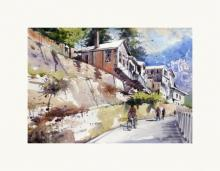 Amit Kapoor | Watercolor Painting title Morning of Shimla on Handmade Paper | Artist Amit Kapoor Gallery | ArtZolo.com