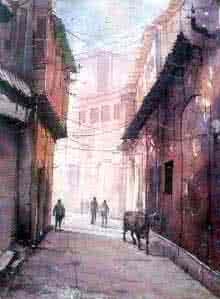 Landscape Watercolor Art Painting title 'Street of Varanasi' by artist Amit Kapoor