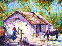 Amit Kapoor | Watercolor Painting title Village House on Handmade Paper | Artist Amit Kapoor Gallery | ArtZolo.com