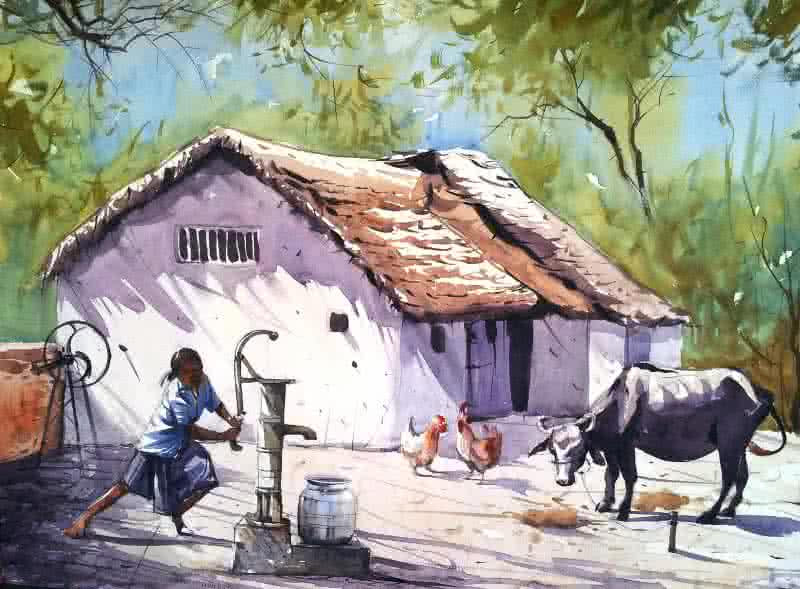 House Paintings village houseartist amit kapoor | watercolor paintings