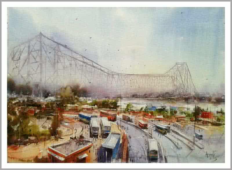 Howrah Bridge in Kolkata by artist Amit Kapoor  : kolkata from www.artzolo.com size 800 x 588 jpeg 74kB