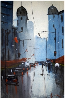 Cityscape Watercolor Art Painting title 'A Streetscape' by artist Arunava Ray