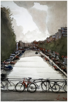 Cityscape Watercolor Art Painting title 'Amsterdam The Netherlands' by artist Arunava Ray