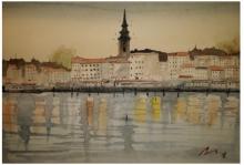 Cityscape Watercolor Art Painting title 'Belgrade Serbia' by artist Arunava Ray