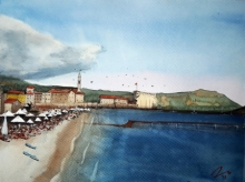 Arunava Ray | Watercolor Painting title Budva Montenegro on Paper | Artist Arunava Ray Gallery | ArtZolo.com