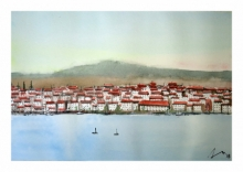Cityscape Watercolor Art Painting title 'Cadaques Spain' by artist Arunava Ray