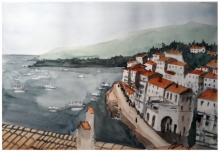 Cityscape Watercolor Art Painting title 'Cadaques Spain 1' by artist Arunava Ray