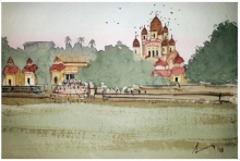 Cityscape Watercolor Art Painting title 'Dakshineshwar Temple Kolkata' by artist Arunava Ray