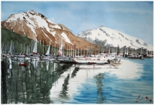 Cityscape Watercolor Art Painting title 'Fjords Of Alaska The Usa' by artist Arunava Ray