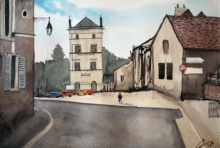 Arunava Ray | Watercolor Painting title French Village on Paper | Artist Arunava Ray Gallery | ArtZolo.com