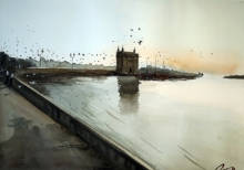 Arunava Ray | Watercolor Painting title Gateway Of India on Paper | Artist Arunava Ray Gallery | ArtZolo.com