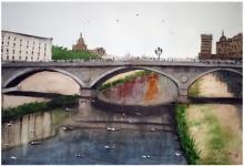 Cityscape Watercolor Art Painting title 'Girona Catalonia Region Spain' by artist Arunava Ray