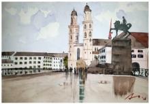 Cityscape Watercolor Art Painting title 'Grosmunster Church Zurich Switzerland' by artist Arunava Ray