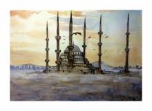 Cityscape Watercolor Art Painting title 'Hagia Sophia Instanbul Turkey' by artist Arunava Ray