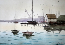Arunava Ray | Watercolor Painting title Harbour on Paper | Artist Arunava Ray Gallery | ArtZolo.com