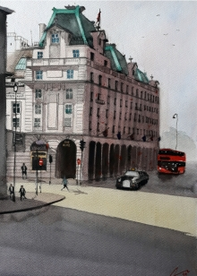 Arunava Ray | Watercolor Painting title Hotel The Ritz London on Paper | Artist Arunava Ray Gallery | ArtZolo.com