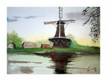 Cityscape Watercolor Art Painting title 'Kinderdijk The Netherlands' by artist Arunava Ray