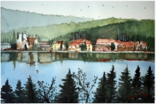 Cityscape Watercolor Art Painting title 'Lake Titisee Germany' by artist Arunava Ray