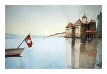 Cityscape Watercolor Art Painting title 'Montreax Lussane Switzerland' by artist Arunava Ray