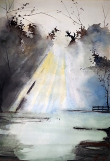 Arunava Ray | Watercolor Painting title Morning Sun In The Woods on Paper | Artist Arunava Ray Gallery | ArtZolo.com