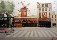 Arunava Ray | Watercolor Painting title Moulin Rouge France on Paper | Artist Arunava Ray Gallery | ArtZolo.com