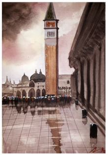 Cityscape Watercolor Art Painting title 'Piazza San Marco Venice Italy' by artist Arunava Ray