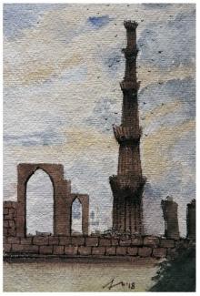 Cityscape Watercolor Art Painting title 'Qutub Minar Old Delhi' by artist Arunava Ray