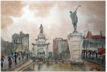 Cityscape Watercolor Art Painting title 'Raining At Hutatma Chowk Mumbai' by artist Arunava Ray