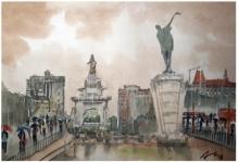 Cityscape Watercolor Art Painting title Raining At Hutatma Chowk Mumbai by artist Arunava Ray