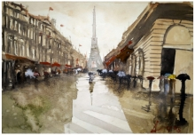 Cityscape Watercolor Art Painting title Rainy Day In Paris by artist Arunava Ray