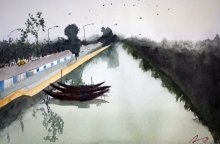 Arunava Ray | Watercolor Painting title Road Side Canal At Kolkata on Paper | Artist Arunava Ray Gallery | ArtZolo.com