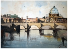 Cityscape Watercolor Art Painting title 'Rome On River Tiver Tiber Italy' by artist Arunava Ray