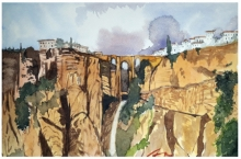 Cityscape Watercolor Art Painting title 'Ronda Andalusia Spain' by artist Arunava Ray