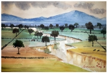 Cityscape Watercolor Art Painting title 'Rural Landscape' by artist Arunava Ray