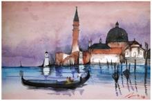 Cityscape Watercolor Art Painting title 'Santa Maria Della Salute Venice Italy' by artist Arunava Ray