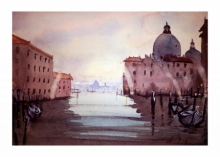 Cityscape Watercolor Art Painting title 'Santa Maria Venice' by artist Arunava Ray