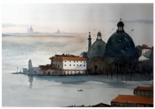 Cityscape Watercolor Art Painting title 'Santa Maria Venice Italy' by artist Arunava Ray