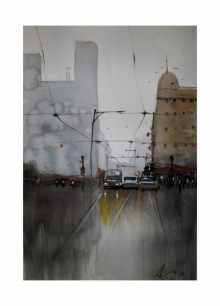 Cityscape Watercolor Art Painting title 'Serbia' by artist Arunava Ray