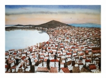 Cityscape Watercolor Art Painting title 'Split Croatia' by artist Arunava Ray