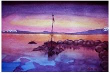 Cityscape Watercolor Art Painting title Sunrise At Lake Tahoe Sierra Nevada Cali by artist Arunava Ray