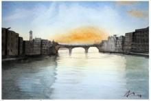 Cityscape Watercolor Art Painting title 'The Bridge' by artist Arunava Ray