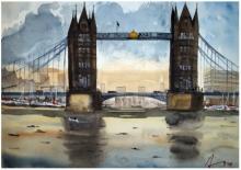 Cityscape Watercolor Art Painting title 'Tower Bridge London' by artist Arunava Ray