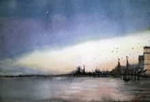 Arunava Ray | Watercolor Painting title Twilight In Varanasi Ghat on Paper | Artist Arunava Ray Gallery | ArtZolo.com