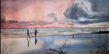 Seascape Watercolor Art Painting title 'Vagator Beach' by artist Arunava Ray