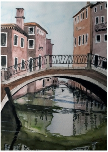 Cityscape Watercolor Art Painting title 'Venice 2' by artist Arunava Ray