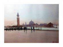 Cityscape Watercolor Art Painting title 'Venice 3' by artist Arunava Ray