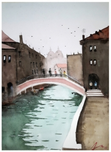 Cityscape Watercolor Art Painting title 'Venice Canal Italy' by artist Arunava Ray