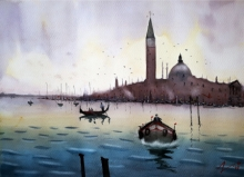 Arunava Ray | Watercolor Painting title Venice Itatly on Paper | Artist Arunava Ray Gallery | ArtZolo.com