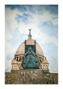 Cityscape Watercolor Art Painting title 'Victoria Memorial Hall Kolkata' by artist Arunava Ray